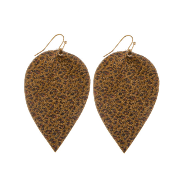 """Long leather leaf earring with glitter detail. Approximate 2"""" in length."""