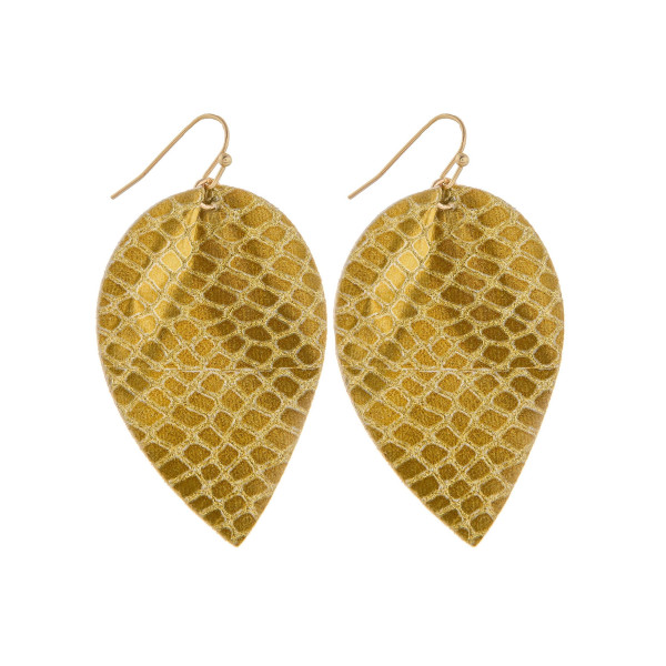"""Long leather leaf earrings with snakeskin detail. Approximately 2"""" in length."""