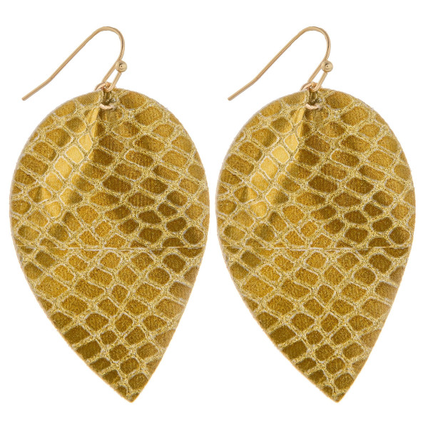 """Long leather leaf earring with snakeskin detail. Approximately 2.5"""" in length."""