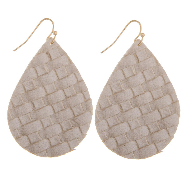 """Long leather drop earring. Approximate 2"""" in length."""