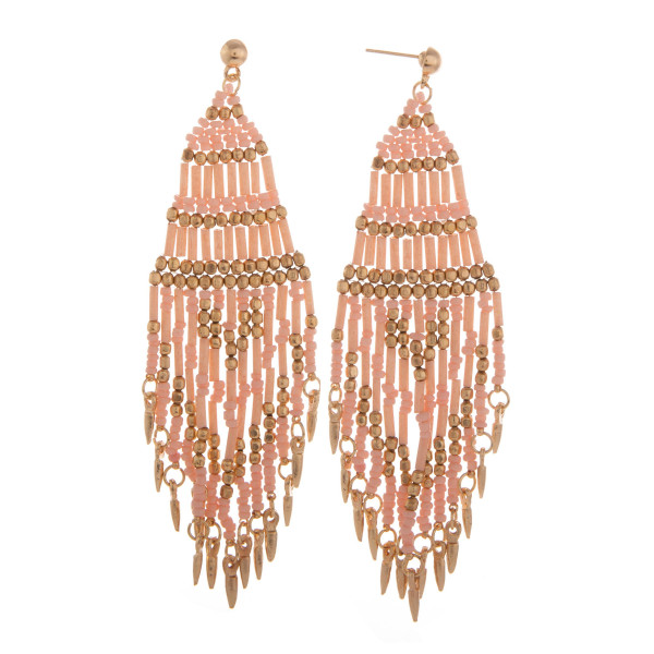 "Long beaded tassel earring. Approximate 4"" in length."