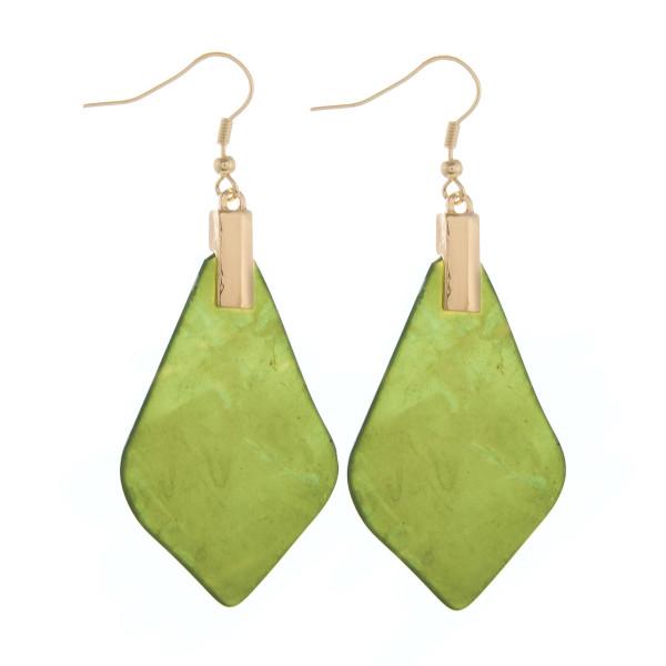 "Long fish-hook acetate earrings. Approximate 2.5"" in length."