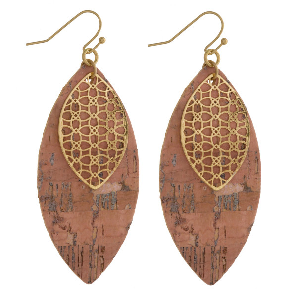 "Long cork leaf earring with small filigree leaf. Approximate 2.5"" in length."