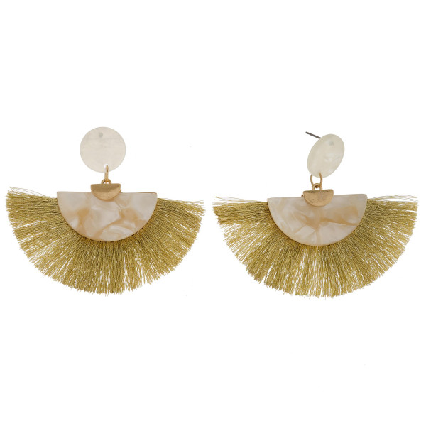 """Long acetate earrings with tassel. Approximate 2"""" in length."""