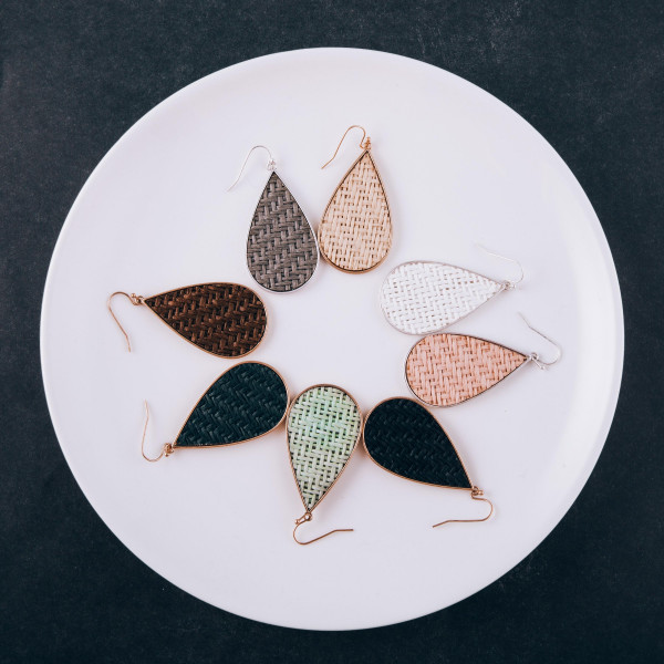 """Long metal drop earring with paper raffia. Approximate 2"""" in length."""