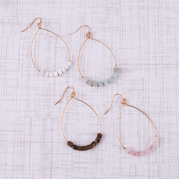"""Metal teardrop earrings featuring amazonite natural stone beaded details. Approximately 2"""" in length."""