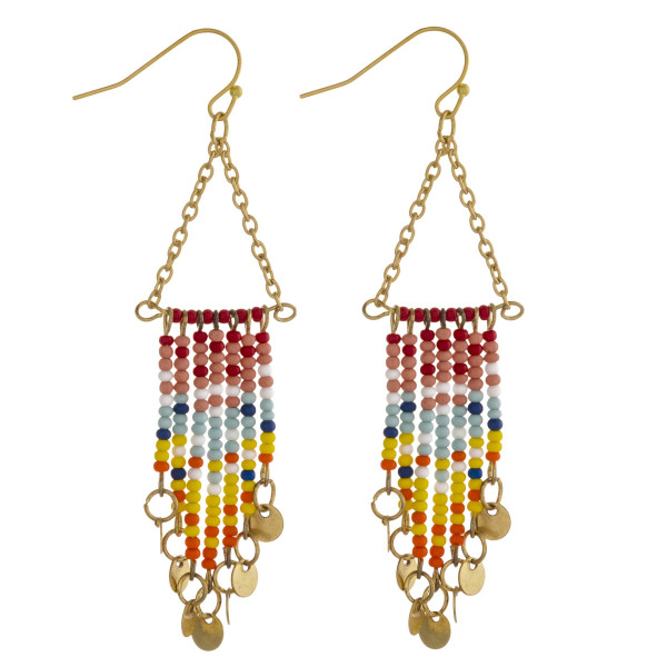 """Chain link triangle earrings featuring seed beaded tassels with gold disc accents. Approximately 3"""" in length."""