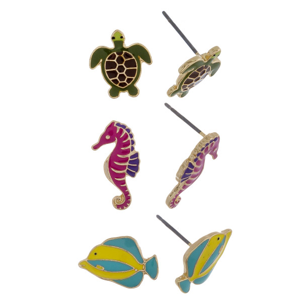 Three-pair stud earrings with turtle, sea horse, and fish details. Approximate 1cm in length.