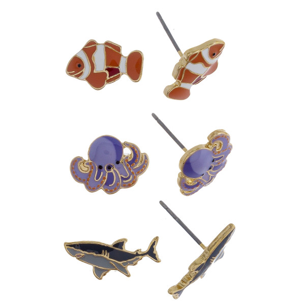 Three-pair stud earrings with fish, octopus, and shark details. Approximate 1cm in length.