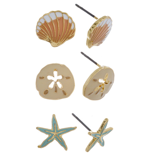 Three-pair stud earrings with shell, sand dollar, and starfish details. Approximate 1cm in length.