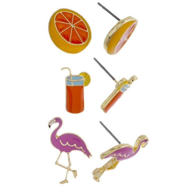 Three-pair stud earrings with fruit, flamingo, and drink detail. Approximate 1cm in length.