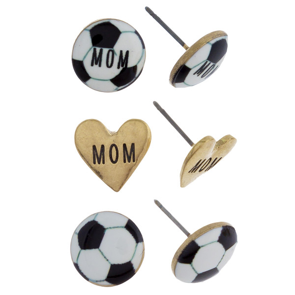 Three-pair stud earrings with soccer mom details. Approximate 1cm in length.