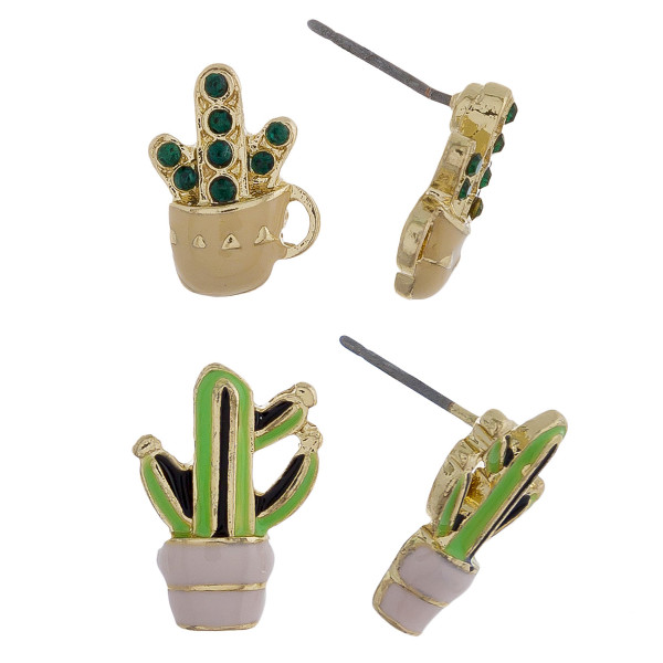 Two-pair stud earrings with cactus details. Approximate 1cm in length.