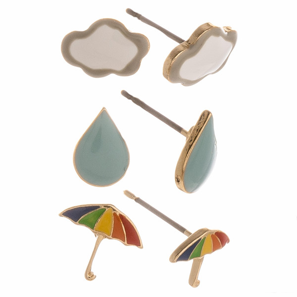 Set of three pairs of weather themed stud earrings featuring clouds, rain drops, and umbrellas.