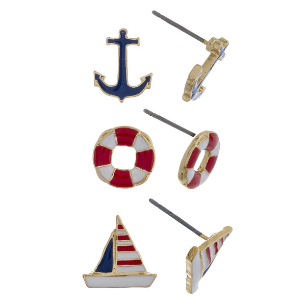 Three-pair stud earrings with anchor, buoy, and boat details. Approximate 1cm in length.