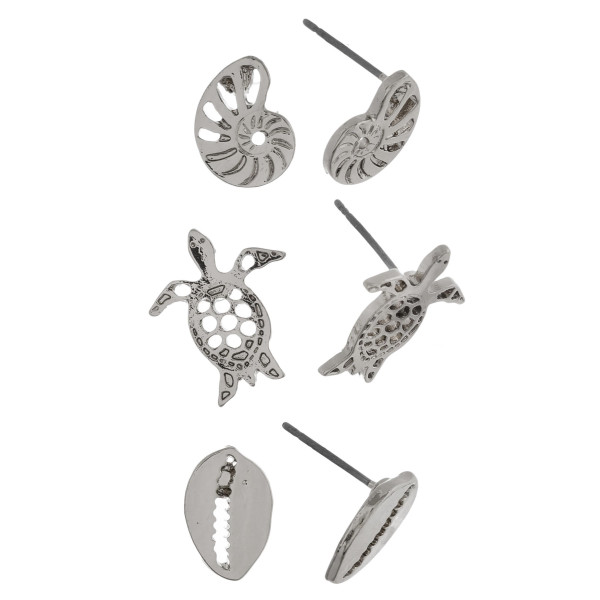 Metal 3 pair stud earrings includes details from the beach. Approximate 1cm.