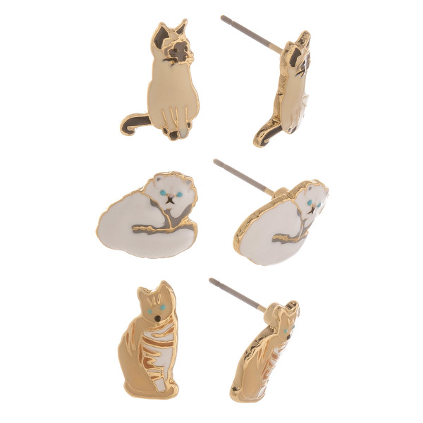 Three-pair stud earrings with cats. Approximate 1cm in length.
