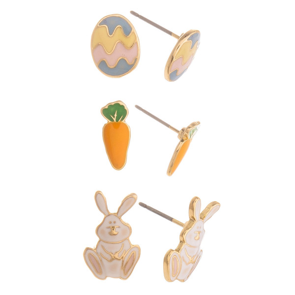 Short stud easter earrings. Approximate 1cm in length.