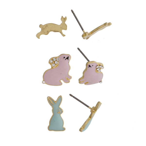 Three-pair stud earrings with a solid gold, pink, and a teal bunny rabbit detail. Approximately 1cm in size.