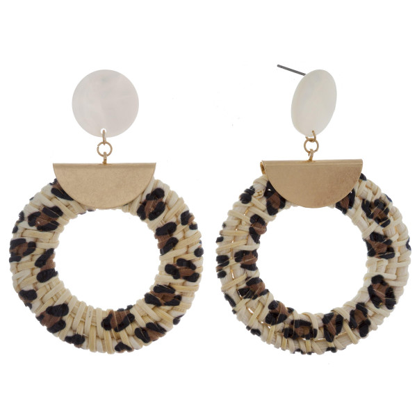 """Long hoop straw earrings with acetate post and animal print details. Approximate 2"""" in length."""