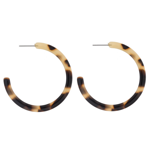 """Long tortoise acetate hoop earrings. 2"""" in diameter."""