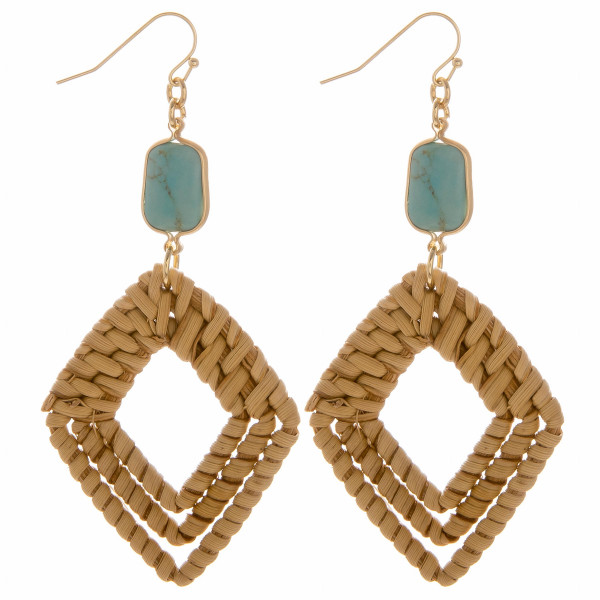 "Woven rattan triple diamond drop earrings featuring a turquoise stone accent. Measure approximately 3"" in length."