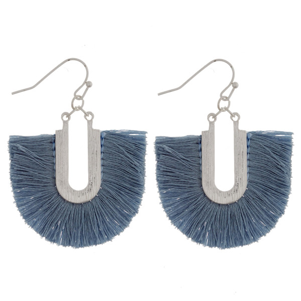"Silver tone fishhook earring with fanned tassel. Approximately 1.5"" in length."