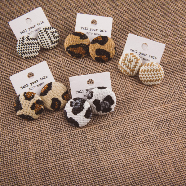 "Short button stud earrings with raffia details. Approximate 1"" in length."