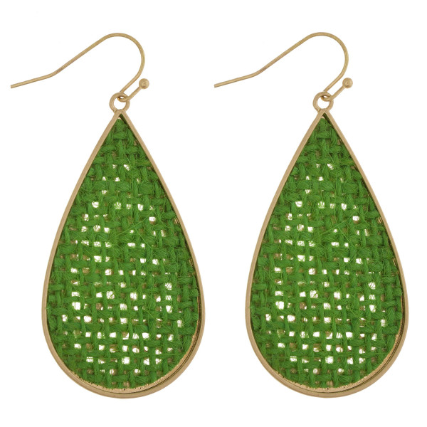 "Long metal drop earring with raffia details. Approximate 2"" in length."