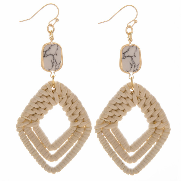 "Woven rattan triple diamond drop earrings featuring a howlite stone accent. Measure approximately 3"" in length."