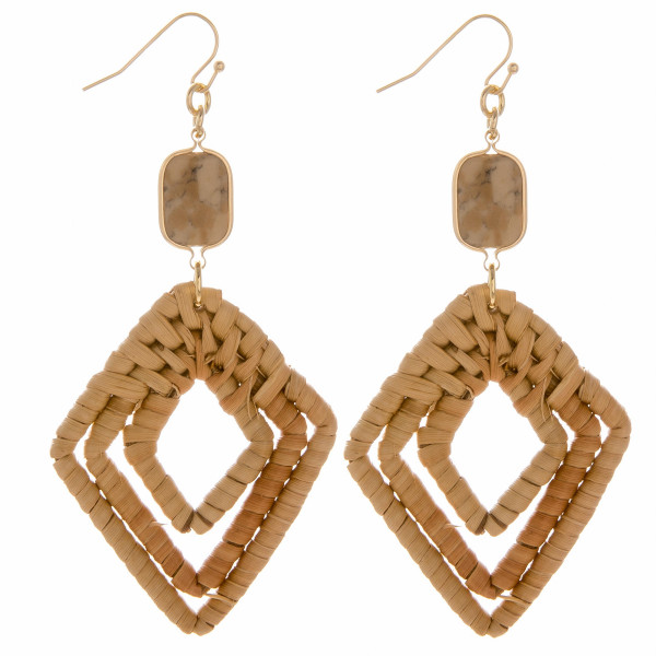 "Woven rattan triple diamond drop earrings featuring a quartz stone accent. Measure approximately 3"" in length."