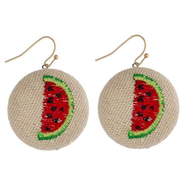 "Raffia circular drop earrings featuring a watermelon embroidered detail. Approximately 1"" in diameter."