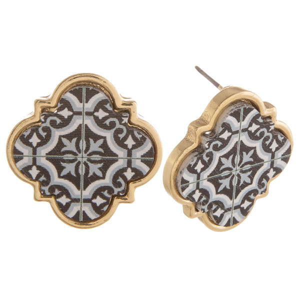 """Wooden stud earring with print design. Approximate 2"""" in length."""