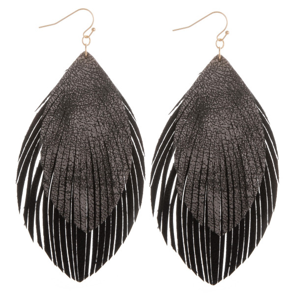 Wholesale long layered leather double feathered earrings Approximate