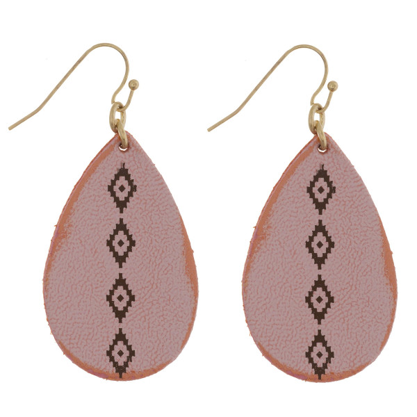 """Long leather earrings with connecting diamond shaped details. Approximate 2"""" in length."""