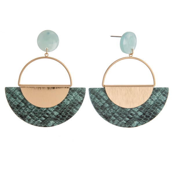"""Metal circular earrings featuring a faux leather snakeskin accent with a resin stud post. Approximately 2"""" in length."""