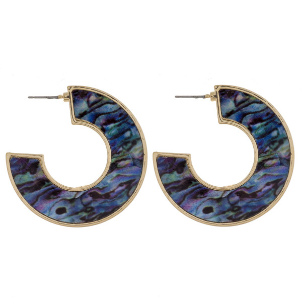 """Large open hoop metal earrings featuring abalone inspired detail. Approximately 1.5"""" in length."""