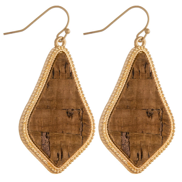 "Long cork inspired earrings featuring gold metal accents. Approximately 1.5"" in length."