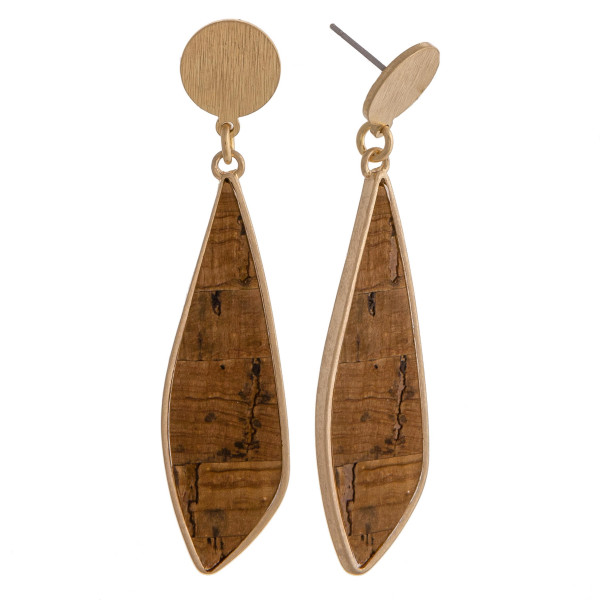 "Long cork inspired earrings featuring gold metal accents and a stud post. Approximately 2.5"" in length."