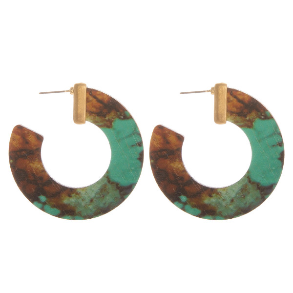 Wholesale large hoop earrings turquoise brown inspired wood details gold accents