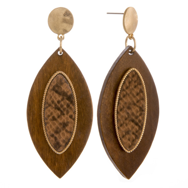 """Long wooden pointed oval earrings with snakeskin raised details. Approximately 2.5"""" in length."""