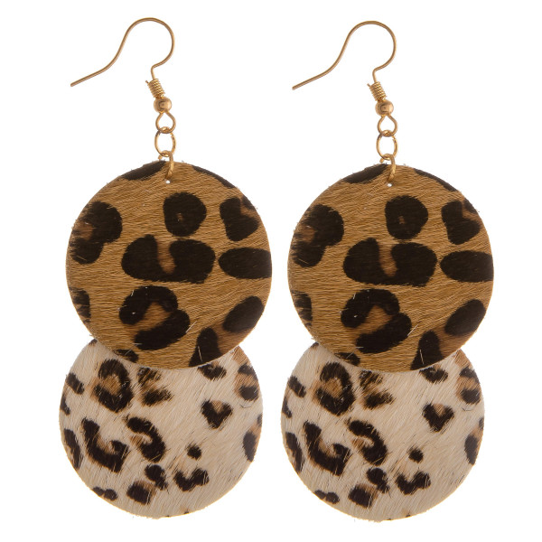 """Long leather hoop earring with animal print details. Approximate 1.5"""" in length."""
