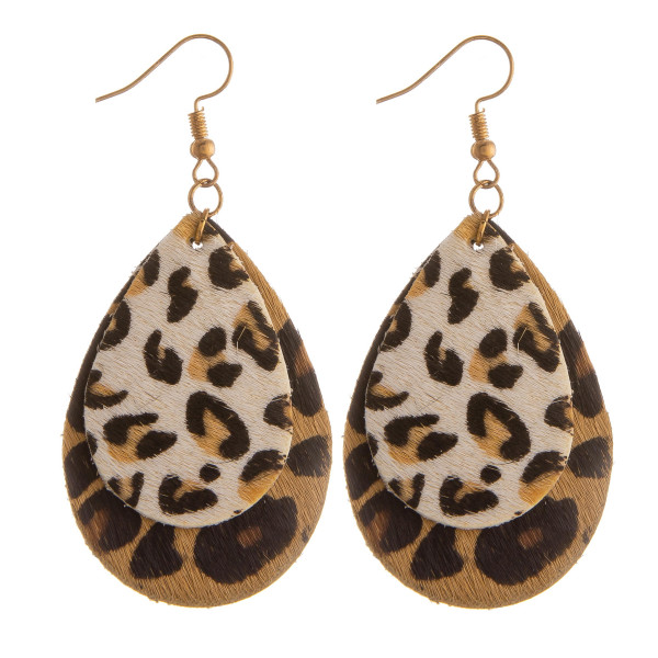 """Long leather drop earring with animal print details. Approximate 2.5"""" in length."""