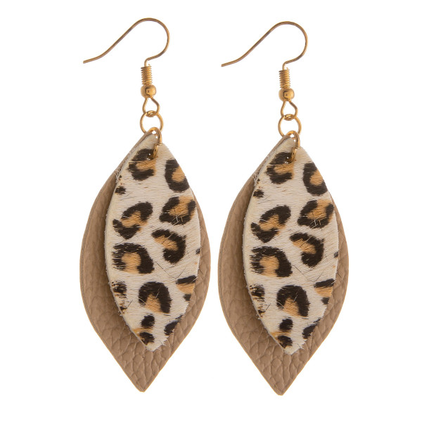 """Long leather leaf earring with animal print details. Approximate 2.5"""" in length."""