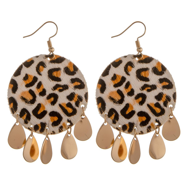 """Genuine leather drop earrings featuring animal print and gold teardrop hanging accents. Approximately 2"""" in length."""