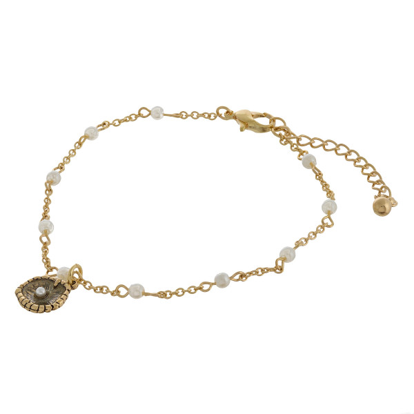 """Starfish charm anklets with pearls and adjustability for the perfect fit. Approximate 12"""" in length."""