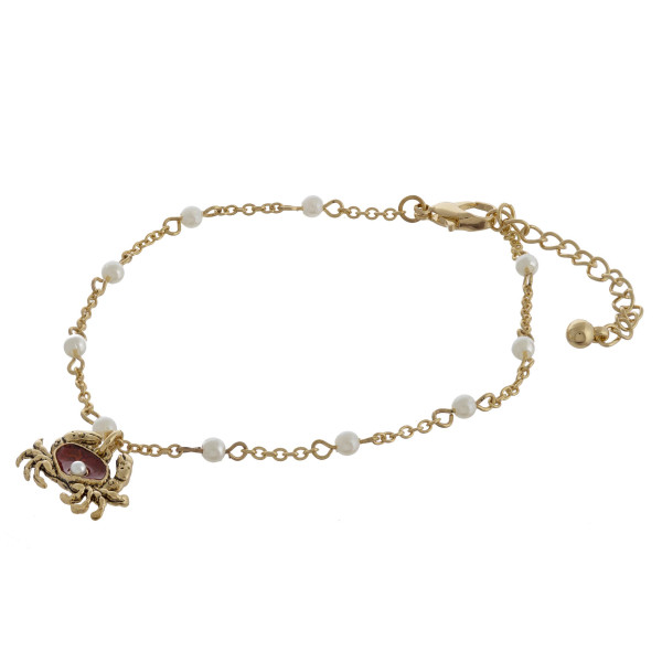 """Crab charm anklets with pearls and adjustability for the perfect fit. Approximate 12"""" in length."""