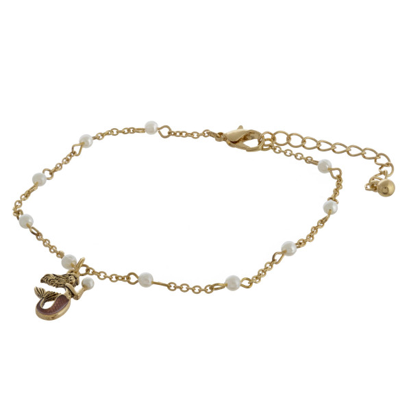 """Mermaid charm anklets with pearls and adjustability for the perfect fit. Approximate 12"""" in length."""