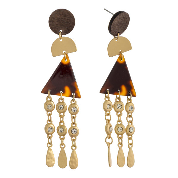"""Long multi shaped earring with tassel and rhinestone. Approximate 3"""" in length."""