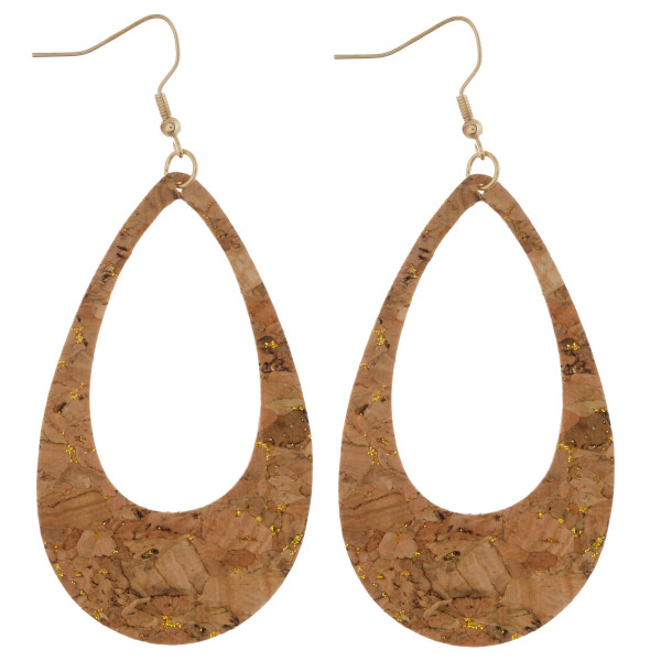 "Long cork earring with drop shape. Approximate 3"" in length."